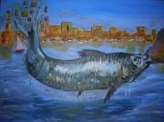 tableau sardine vieuxport marseille : sardine bouchant le vieux-port de Marseille