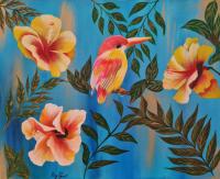 Oiseau rose jaune et ces 3 fleurs