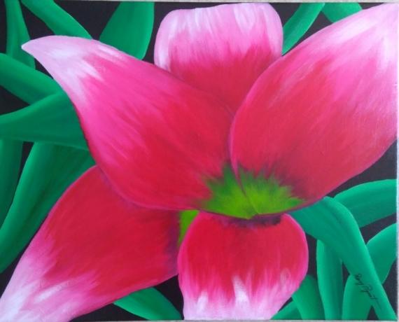 TABLEAU PEINTURE Fleurs Acrylique  - Fleur fushia