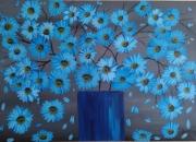 tableau fleurs : Marguerite bleu