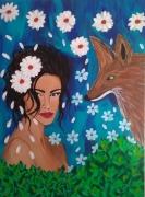 tableau autres portrait fleur : La belle et le renard