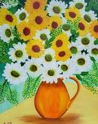 tableau fleurs : Marguerites jaunes et blanches