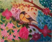 tableau animaux : Oiseau jaune