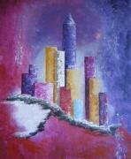 tableau villes ville metropole : metropole sous le neige