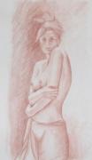 dessin nus nue : sanguine n°1