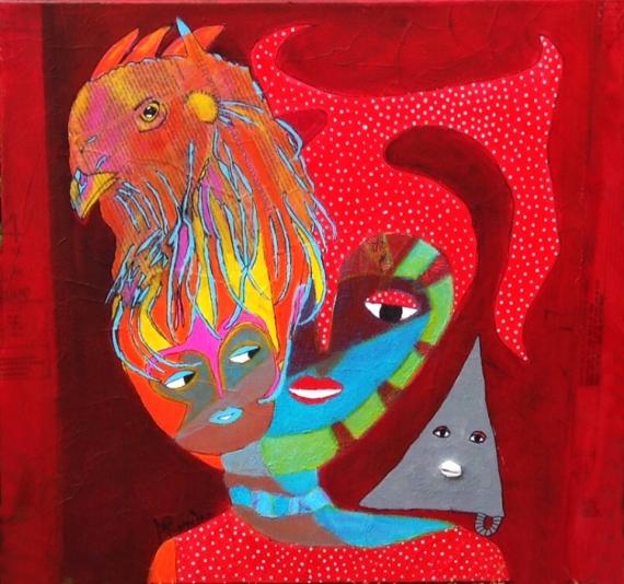 TABLEAU PEINTURE Cuba Art Aconcha Collage Personnages Acrylique  - Ibeyi