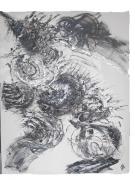 tableau abstrait noir et blanc : Robotique