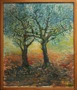 tableau autres arbres huile branches contemporain : Deux arbres