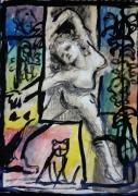tableau autres danseuse femme fantaisie aquarelle : Danseuse
