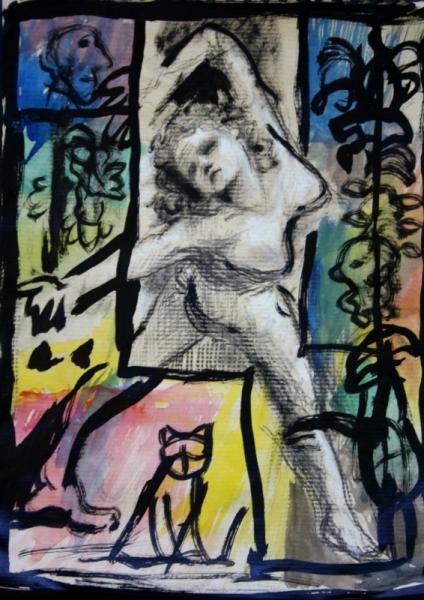 TABLEAU PEINTURE Danseuse femme fantaisie aquarelle Aquarelle  - Danseuse
