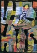 tableau autres femme cubisme aquarelle fantaisie : La femme au pigeon