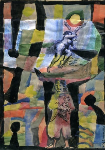 TABLEAU PEINTURE femme cubisme aquarelle fantaisie Aquarelle  - La femme au pigeon