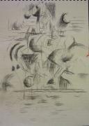 tableau autres cheval fusain fantaisie equitation : Cheval et cavalier