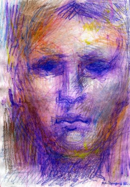 TABLEAU PEINTURE portrait aquarelle jeune homme contemporain Aquarelle  - Tête de jeune homme