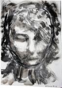 dessin autres visage jeune femme encre de chine expressionisme : Jeune femme