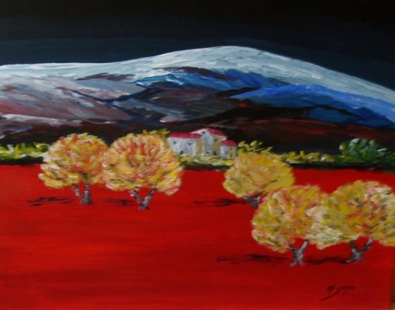 TABLEAU PEINTURE le mont ventoux voit rouge Paysages Acrylique  - le Mont voit rouge