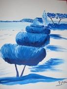 tableau paysages arbres bleus pourquoi pas : nature en bleu, pourquoi pas!!