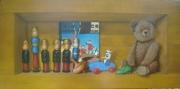 tableau autres trompe l oeil jouets anciens nounours zig et puce : Etagère avec jouets