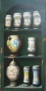 tableau autres pots ,a pharmacie etagere trompe l oeil pots : Etagère de pots à pharmacie