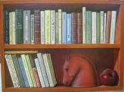 tableau autres trompe l oeil livre etagere bibliotheque : Etagère de livres