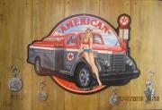 tableau personnages pin up camion trompel oeil pub sur tole : American petroleum