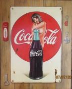 tableau autres trompe l oeil pinup publicite acienne pub sur tole : Coca cola
