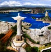 tableau paysages rio bresil pain de sucre le christ : Rio