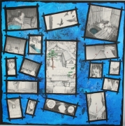 """tableau personnages manga lany acrylique bleu : """"L'habitant de l'infini 3"""""""