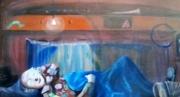 tableau personnages clwon cirque caravane repos : le spectacle et terminée