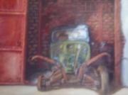 tableau nature morte garage epave traction restauration : cacrcasse mythique