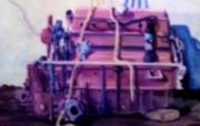 tableau nature morte moteur mecanique retro rouille : nature morte aux 15,6