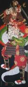 tableau personnages personnage samourai asiatique rouge : Samouraï