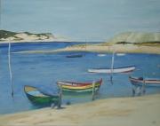 tableau marine barques mer portugal soleil : barques au Portugal