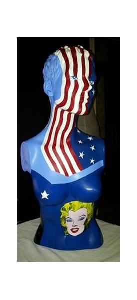 DéCO, DESIGN buste usa marilyn Monroe drapeau Personnages  - Mary-AM