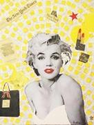 tableau personnages portrait marilyn monroe acrylique modern art : MARILYN MONROE «New-York City» Technique Mixte sur Panneau Par K