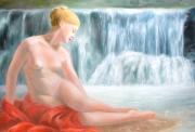 tableau nus nu nue femme cascade : Nymphe à la cascade