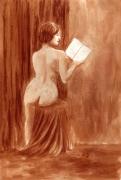 dessin nus nue dos livre assise : Lecture