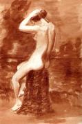 dessin nus nue assise femme coiffure : Femme se coiffant