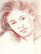 dessin nus femme portrait nue sanguine : femme