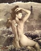 tableau nus surrealiste nu handmade collage martin : L'heure tourne