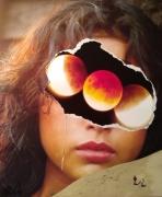 tableau autres collage fait main surrealiste femme : Tête de lune