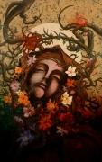 tableau fleurs fleurs ange : necrorgasme