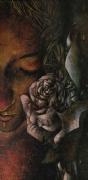 tableau personnages portrait femme rose : memento mori