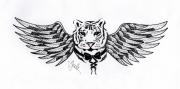 dessin animaux tigre aile noeud blanc : Hybride