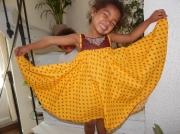 art textile mode paysages jaune soleil ete decontracte : ROBE VOLANT