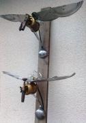 deco design animaux oiseaux applique lampe metal : vol d'oiseaux
