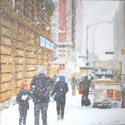 tableau scene de genre new york america snow genre scene : NY#4 New York (Kiosque)