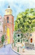 tableau architecture saint tropez cote dazur place eglise : 2020-33 St Tropez Place de l'Ormeau