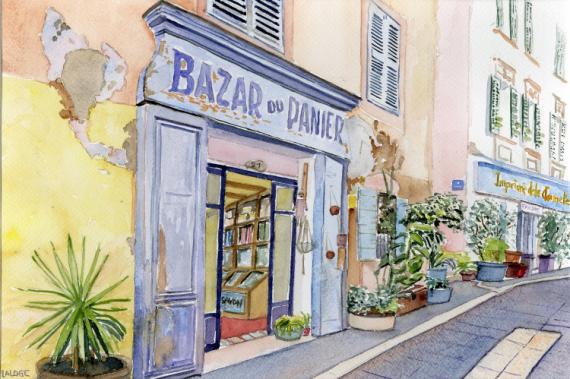 TABLEAU PEINTURE marseille panier bazar boutique Architecture Aquarelle  - 2021-17 Marseille Bazar du Panier