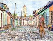 tableau villes cuba trinidad cheval rue : 2021-18 Cavalières à Trinidad